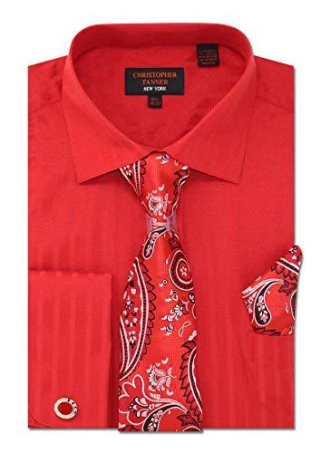 Christopher Tanner Men's Regular Fit Dress Shirts with Tie Handkerchief Cufflinks Combo Herringbone Stripe Pattern - Round Cufflinks Red