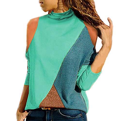 Blouses for Womens, FORUU Ladies Sales 2018 Winter Warm Under 10 Best Gift for Girlfriend Women Long Sleeve Off Shoulder Patchwork Geometric Ladies Top