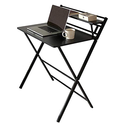 JIWU 2-Style Folding Desk for Small Space, Home Office Workstation with Shelf, Simple Computer Desk Laptop Writing Table (Job Chairs Folding Lot)