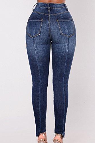 Blue Cucitura Donne Vita Alta Skinny Le Elasticizzati Jeans Si Pantaloni x6qgUawaZ