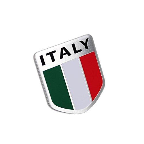 2 Pcs Car Racing Sports Italy Flag Aluminum Shield Emblem Badge Decal Sticker - Shield Emblem