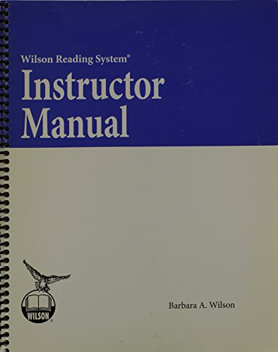 - Instructor Manual (Wilson Reading System)