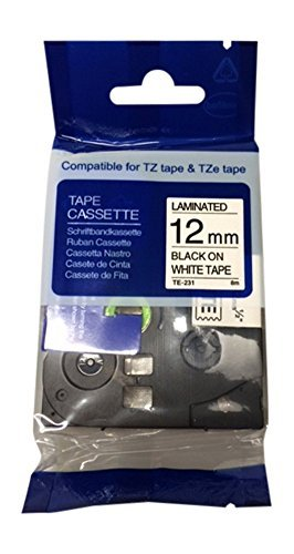 Wechselfaul Schriftband f/ür Brother TZE-231 schwarz auf wei/ß 12 mm breit x 8 m L/änge kompatibel zu TZe-231