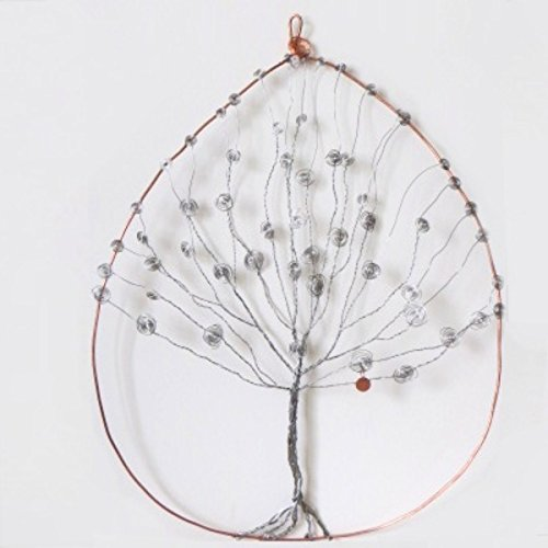 Large Silver Stainless Steel and Copper Tree of Life Wall Art | Home ...
