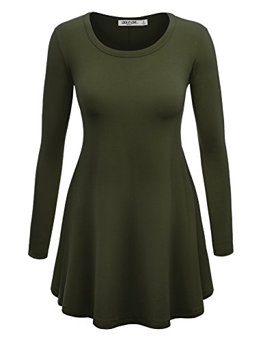 WT767 Womens Long Sleeve Scoop Neck Trapeze Tunic XXL OLIVE