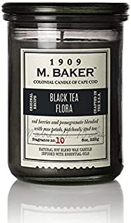 product image for M. Baker by Colonial Candle Scented Apothecary Glass Jar Candle, Black Tea Flora, Natural Soy Wax Blend, 8 Oz, Premium Cotton Wick, Single (Dewy Citrus, Sweet Spices)