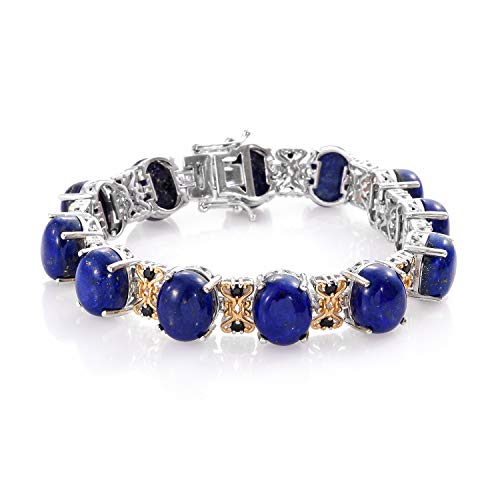 (Tennis Bracelet 925 Sterling Silver Platinum Plated Lapis Lazuli Black Spinel Gift Jewelry for Women Size)