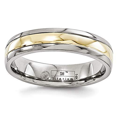 Edward Mirell Polished Titanium with 14K Yellow Gold Inlay 5mm Wedding Band - Size 13