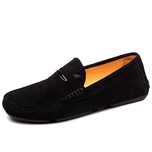 Shenduo Men's Slip on Loafers Suede Leather Moccasins Boat Flats Driving Shoes D1181 Black