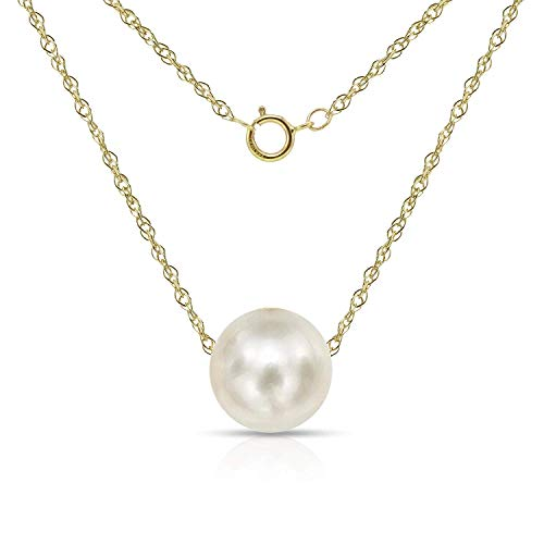 14K Yellow Gold Chain with 8-8.5mm White Freshwater Cultured Pearl Floating Pendant Necklace, 18