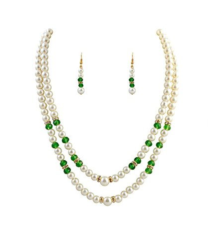 Trendy Souk Women's South Sea Shell Pearls Necklace Set White And Green