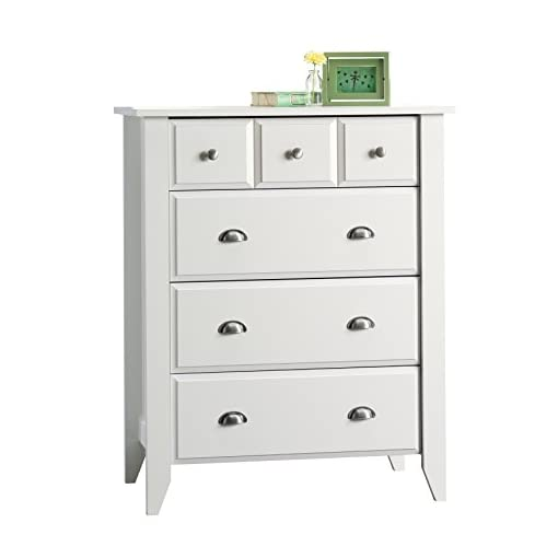 Bedroom Sauder Shoal Creek 4-Drawer Dresser, Soft White finish dresser