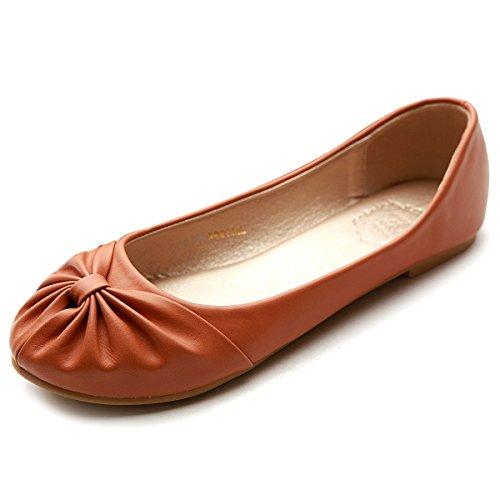 Ollio Womens Ballet Shoe Comfy Ribbon Cute Down Flat Brown cGjy3