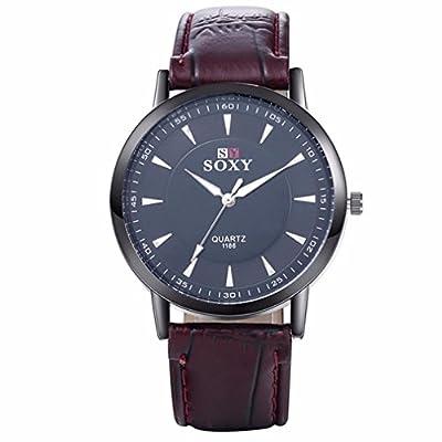 Elevin(TM) Mens Stainless Steel Leather Band Analog Quartz Fashion Military Wrist Watch
