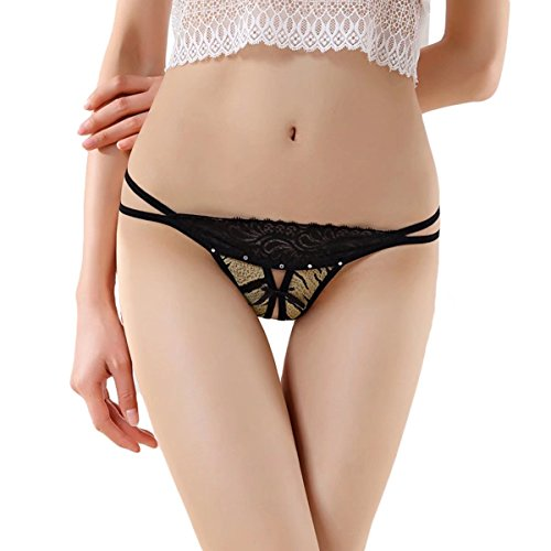Womens Lace T-String Panties Crotchless Brown - 1