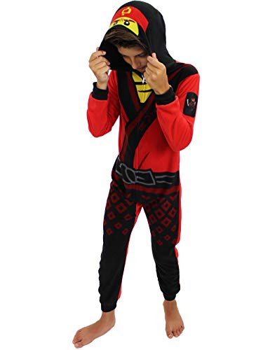 Lego Ninjago Kai Boys Fleece Hooded Union Suit Pajamas (8, -