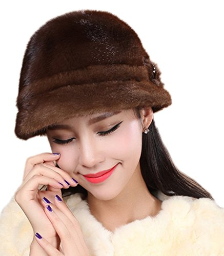 YR Lover Women's Warm Earmuffs Thicken Mink Fur Beret Caps Cute Small Hats