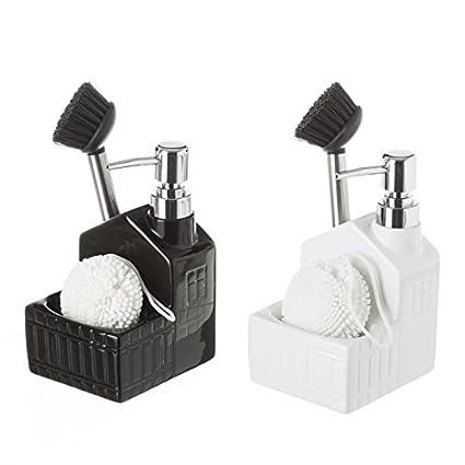 D,casa - Dispensador con estropajero y Cepillo para Cocina Blanco y Negro - Negro