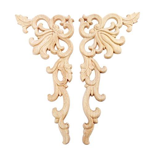 2pcs Right+Left(each 1pcs) European Style Wood Carved Corner Onlay Applique Door Decoration Unpainted