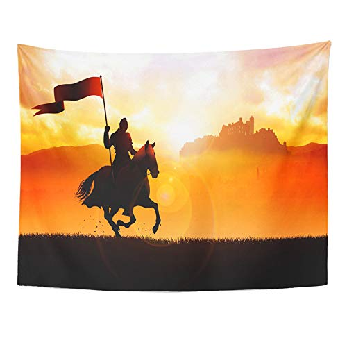 - Emvency Tapestry Wall Hanging Silhouette of Medieval Knight on Horse Carrying Flag Dramatic Scene 60