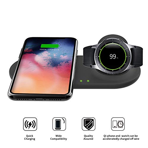 EloBeth 2 in 1 Wireless Charger Duo, Fast Charge Stand & Pad, Universally for Qi Enabled Smart Phones and Compatible with Select Samsung Watches 42mm/46mm Gear S3/Sport (No Adapter)