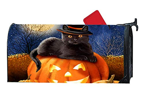 Halloween Pumpkins Black Cat Autumn Magnetic Mailbox Cover,
