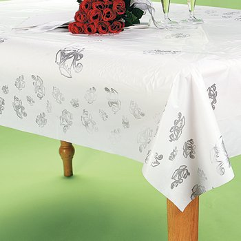Silver Wedding Bell Printed Banquet Roll - Tableware & Table Covers
