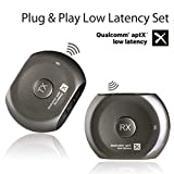 Avantree Lock Portable Pre-paired aptX LOW LATENCY Bluetooth Transmitter and Receiver Audio Adapter Set for Outdoor Use, TV Watching, Headphones, Speakers, Plug & Play, No Delay, 3.5mm AUX & RCA