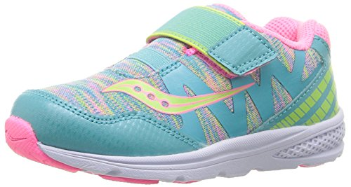 Saucony Baby Ride Pro Running Shoe (Toddler/Little Kid), Turquoise/Multi, 8.5 M US Toddler