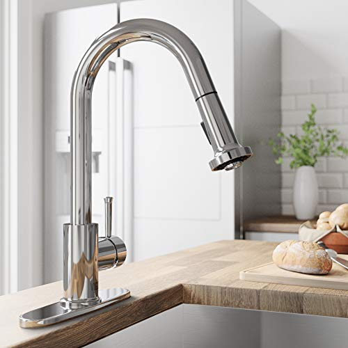 VIGO VG02002CH Harrison Commercial 15 Inch Single Handle Brass Kitchen Faucet with Pull-Down Sprayer and Deck Plate, Centerset Single Hole Kitchen Sink Faucet, 30 Inch Extendable Braided Nylon Hose, Swivel Head Design, Plated Seven Layer Chrome Finish