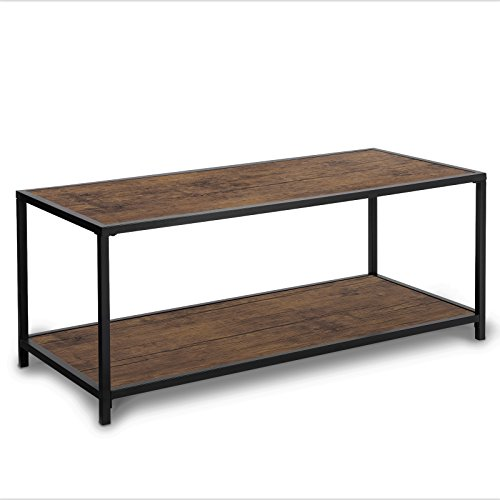 SONGMICS Coffee Table, with Storage Shelf, Metal Frame Cocktail Table, for Living Room and Office, Rustic ULCT66BX
