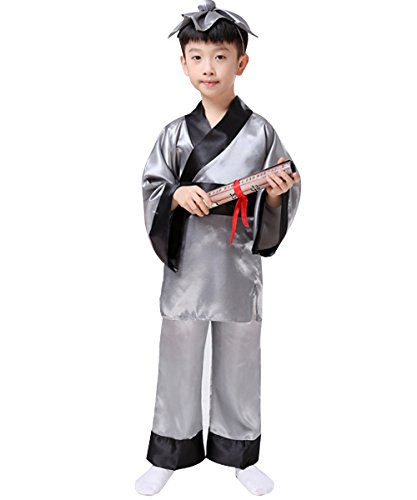 Child Disciple Costume (Traditional Chinese Clothing Han Costume Three Character Primer Disciple Gauge Performance Robe Kimono)