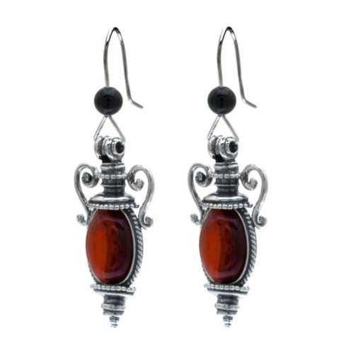 Cherry Amber Sterling Silver Catherine the Great Collection Antique Reproduction Style Hook Earrings by Ian & Valeri Co.