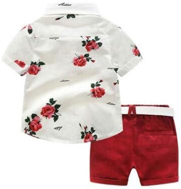 Toddler Baby Boys Shorts Set,Summer Gentleman Fashion Print Short Sleeve Button Shirt+Woven Shorts Set 2 Piece Outfits