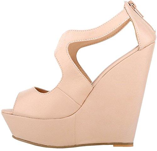 Calaier Mujer Caluckily Tacón Ancho 14CM Sintético Hebilla Sandalias de vestir Zapatos Beige