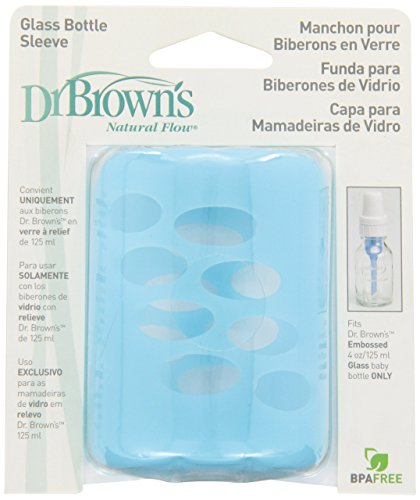 Dr. Brown's Original Standard Neck Glass Baby Bottle Sleeve, 4 Ounce, Blue