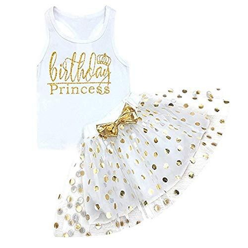 Toddler Baby Girls 100% Cotton 2pcs Outfits Birthday Princess Vest Sleeveless Top +Sparkle Sequins Dot Tutu Bubble Skirt Set ()