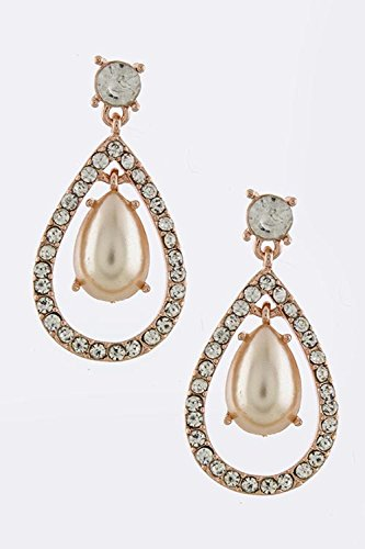 BAUBLES & CO CRYSTAL PEARL DANGLE EARRINGS (Clear/Copper) (Copper Coyote Earrings)