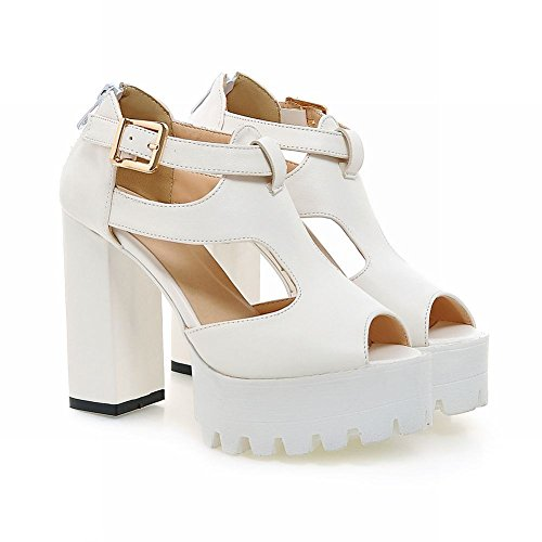 Carolbar Womens Zip Buckle Peep Toe Fashion Party Platform High Chunky Heel Sandals White DOSV4f0cx