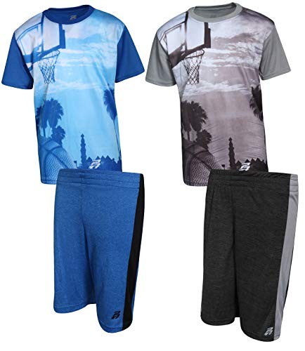 Pro Athlete Boys 4-Piece Matching Performance Basketball Shirt and Short Sets, Basketball, Size 8'