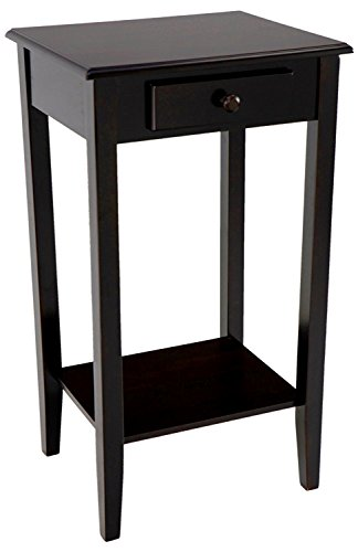Phone Stand Espresso - Espresso Phone Stand End Table with Lower Bottom Shelf and Drawer Handle Wooden Side Chairside Living Waiting Room Home Office Furniture Classy Stylish & eBook by Easy&FunDeals
