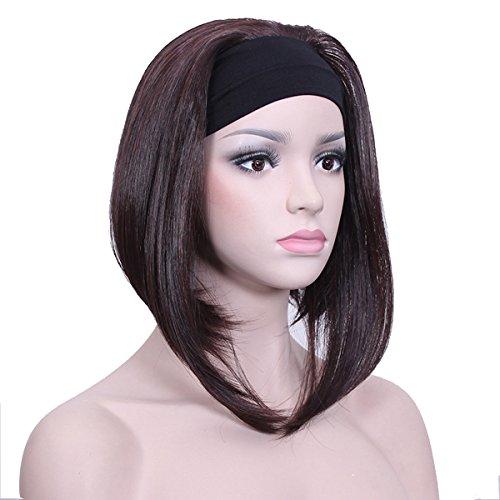 DEYSSNE Ladies'Dark Brown Half 3/4 Wig With Headband Short Straight Synthetic Capless Full Hair Women Wigs -