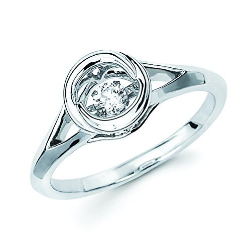 Brilliance in Motion 925 Sterling Silver Dancing Diamond Circle Fashion Ring (1/10 cttw, I Color, I1 Clarity)