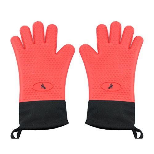P91 Heat-Resistant Silicone Gloves for Cooking, Baking, and BBQ are Crafted to Withstand Temps up to 446℉   Made of 100% FDA-Approved Food Grade Silicone   Extended Cuff Guard & Cotton Lining