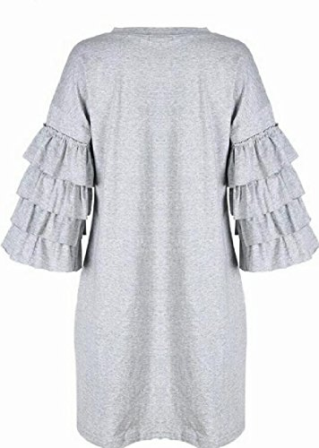 Party Solid Ruffled Sleeve Grey Jaycargogo Evening Dress Womens Classic Fashion TIqxYHw