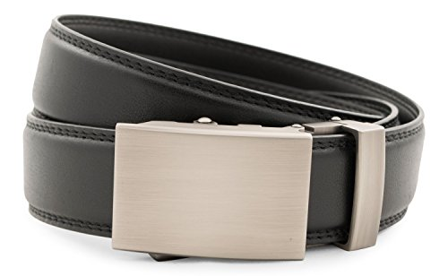 Anson Belt & Buckle - Men's Classic Gunmetal Buckle with Black Leather -