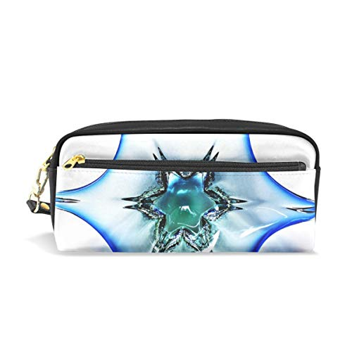 Jnseff Pencil Case Stylish Print Glass Bowl Murano Glass Glass Art Blue Shell Art Pattern Large Capacity Pen Bag Makeup Pouch Durable Students Stationery Two Pockets with Double Zipper