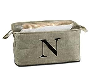 Urban Legacy Letter Initial Monogram Storage Basket Burlap Eco-Friendly Jute. Storage Bin Nursery, Beauty Products, Office Supplies, Gift Basket Monogram (N)