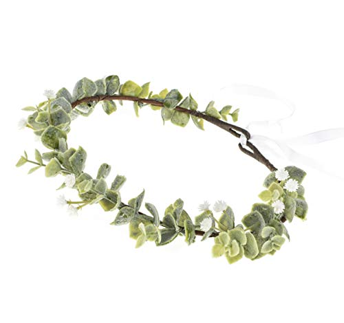 DDazzling Green Leaf Floral Crown Eucalyptus Flower Women Girls Headband Flower Headpiece Bridal Halo Photo Prop (#Gypsophila Paniculata and Green Leaf)]()