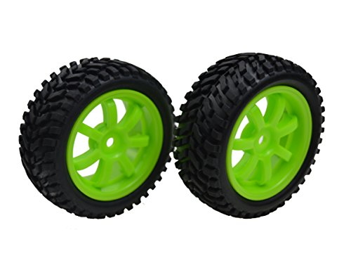 Jrelecs 2 PCS 73mm Soft Rubber Off-road Tyre and Wheel Rim for 1/10 Rc On-road Car - Green